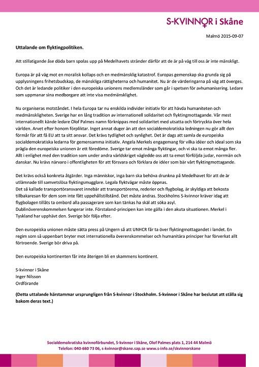 Uttalande om flyktingpolitiken