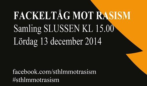 Fackelt�g mot rasism 13 dec 2014