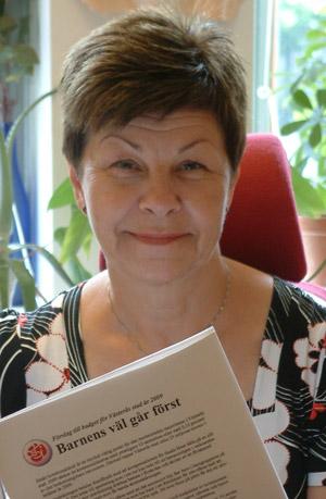 Oppositionsrådet Ulla Persson läser skuggbudgeten för 2009